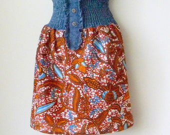 Mini Skirt - African Wax Print - Cinnamon - Blue White - Black - Cotton - Hand Made - Colorful - UNIQUE - HAWA