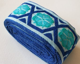 Wide Geometric Vintage Upholstery Trim Blue Turquoise