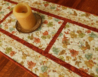 Quilted Fall Table Runner, Autumn Leaves Table Runner, Autumn Quilted Table Runner, Gold Brown Blue and Green, Fall Table Topper