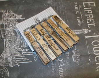 French handstamped Clothes pins Paris decor,Paris theme,Paris party decor,Paris wedding shower,French decor,shabby chic,Eiffel Tower