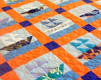 Sailboat Quilt - Made from Babies Clothing - DEPOSIT LISTING (50%)