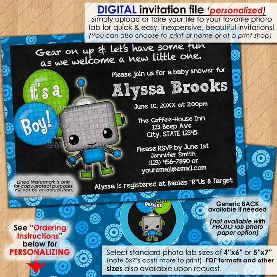adorable robot baby shower invitations chalkboard robots mommy girl
