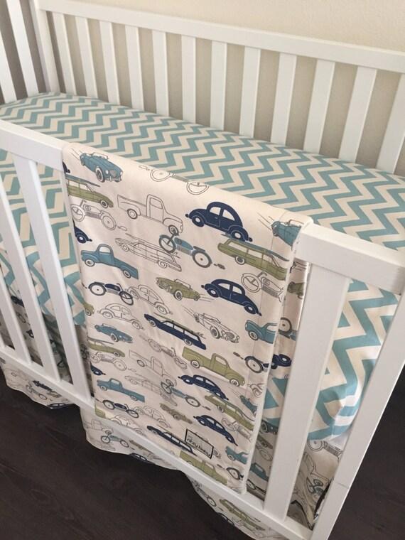 Car Crib Sheet : Cars chevron bumperless crib set bedding by