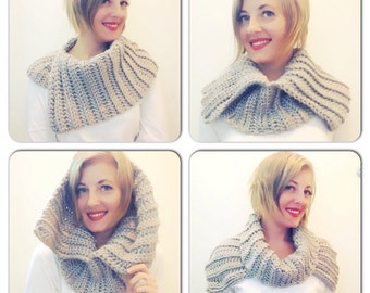 Split neck cowel sholder shrug collar neck warmer scarf convertable