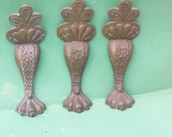 Antique Large Solid Brass Eagle Lion Claw Feet Legs with 5 Toes
