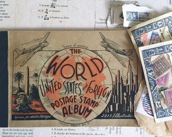 vintage 1938 world postage stamp album and stamps
