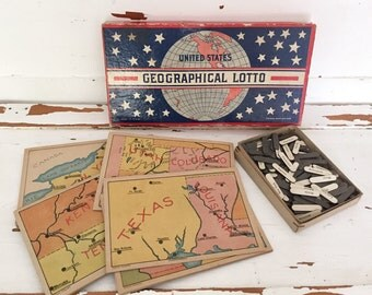 SALE vintage rare United States geograpgical lotto game