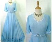 1950s Dress Blue Sheer Chiffon Ruffle Emma Domb maxi dress / Pearl Floral design Princess Wedding Prom Dress