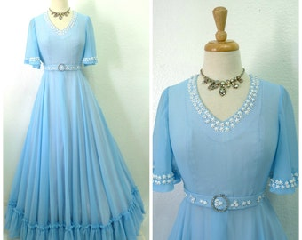 Vintage 1950s Dress Blue Wedding Sheer Chiffon Ruffle, Pearl Floral Princess Party Dress