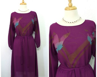 1960s Dress Sheer Chiffon Burgundy Bird print dress M