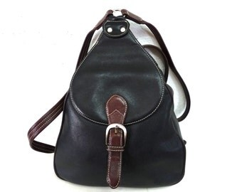 SALE Vintage Leather Backpack Black with Adjustable Shoulder Straps