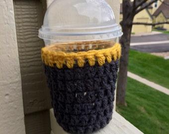 Coffee Cozy/frozen coffee cozy/drink cozy/gray and yellow coffee cozy