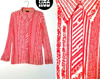 Vintage 60s 70s Mod Brutalist Red and White Stripe Button Down Blouse Top Shirt