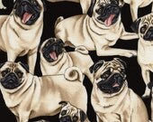 Timeless Treasures PUG Dog Fabric, yards