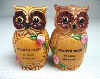 Grant's Farm Owls Souvenir Salt and Pepper Shakers - St. Louis, Missouri