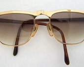 Mens Designer /Ballye Carlo Clubmaster style Sunglasses / Eyeglasses Gold and Tortoise /made in Italy
