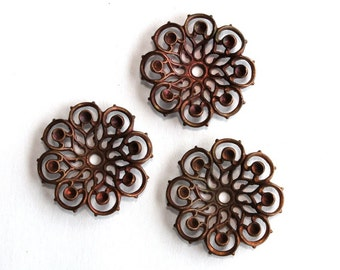 3 Vintage 1950s Flowers // 40s 50s Flower Finding  // Copper // Craft Jewelry Supply // Rhinestone setting