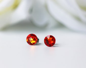 Orange Red Swarovski Crystal Titanium Earrings Fire Opal Dainty Everyday Studs