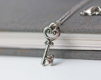 Small Skeleton Key Necklace Antique Silver Key Pendant Victorian Gothic Style