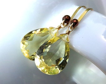 Yellow Earrings, Sparkly Yellow Quartz Earrings, Gold Earrings, Lemon Quartz Earrings, Yellow Gemstone Earrings - Lemon Meringue