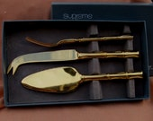 Stainless Gold Plated Bamboo Hostess Set / Supreme Cutlery Towle  Gold Electroplated/ Vintage  3 Piece Cheese Serving   Reserve for Bobbie