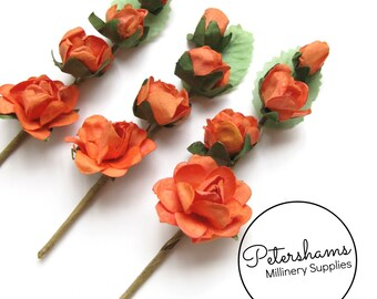 3 Stems Wired Miniature Paper Flowers and Leaves Picks - Orange