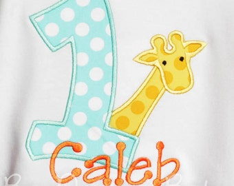 Giraffe Birthday Shirt, Zoo Birthday Shirt, Safari Birthday Shirt, Any Age, You Choose Fabrics and Font