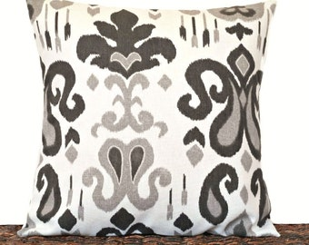 Ikat Pillow Cover Cushion Gray Black White Decorative 16x16