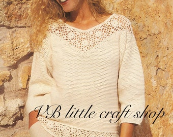 Lady's sweater with motif bands crochet pattern. Instant PDF download!