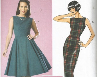 Retro 50s Dress Pattern UNCUT FF Wiggle or Full Skirt Repro Butterick 6094 Rockabilly 6 8 10 12 14 bust 30-36 xs s m