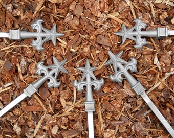 FIVE Total Star & Ivy ALL Metal Hose Guides with cast iron finial tops