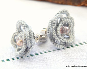 ROSE - hand tatted lace post earrings - bridal - made to order