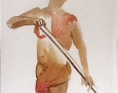 Impressionist Male Figure - 9x12 Original Watercolor Painting