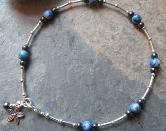 Lapis & Hematite Ankle Bracelet - Chakra, Spiritual jewelry