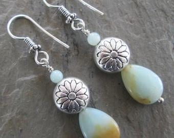 Amazonite & Silver Earrings - Chakra/Boho Earrings