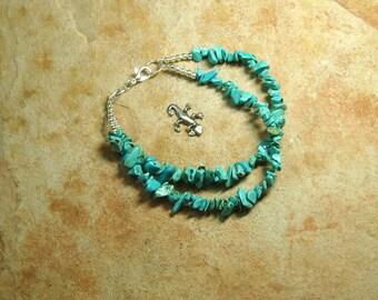 Natural American Blue Turquoise 2 Strand Gemstone Chips, 925 Silver Bracelet