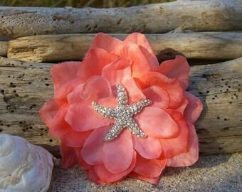 Beach Weddings Starfish Floral Hair-CORAL-Beach Wedding, Starfish Wedding, Bridal Hair Clip, Mermaid Hair, Vegan Friendly Starfish, Starfish
