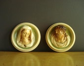 Vintage Chalkware Religious Plaques - Set of Two Chalkware Busts with Jesus and Mary - Madonna and Chris Bas-relief Wall Sculptures