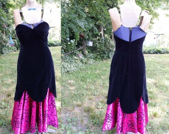80s Prom Dress /Vintage Bridesmaid Dress /Vintage Dress/ 80s Dress/ Strapless Dress by TD4 by Electra in Black Velvet & Hot Pink Size 2
