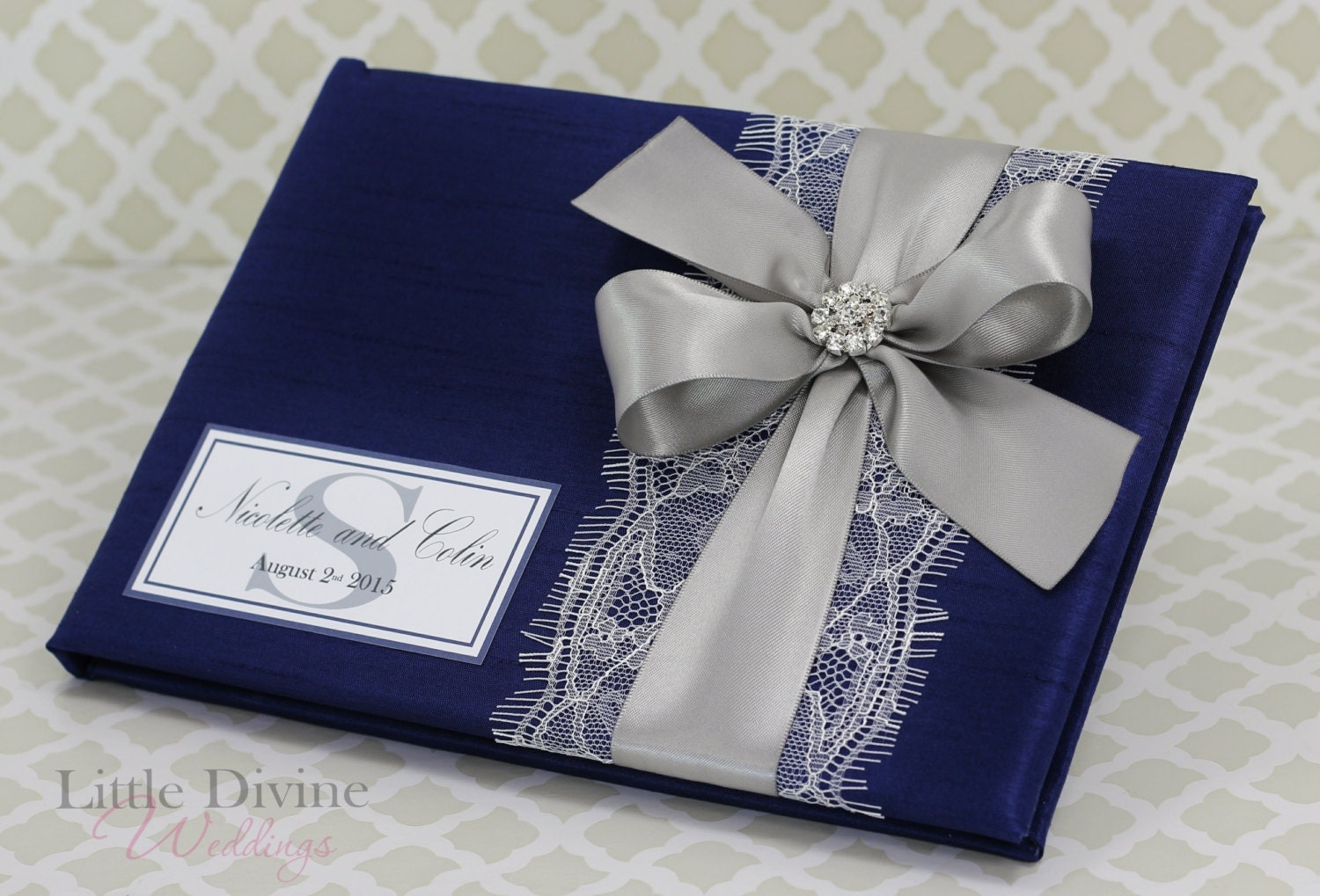 navy blue and silver wedding guest book lace custom made in