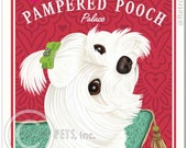 Maltese Art - The Pampered Pooch Palace - 8x10 art print by Krista Brooks