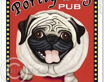 "8x10 Pug Art - Portly Pug Pub ""Eat, Drink, & Be Puggy"" Art print by Krista Brooks"