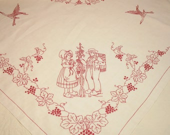 Charming Excellent Antique French Alsace Redwork Linen Tablecloth - 58 x 57 Inches