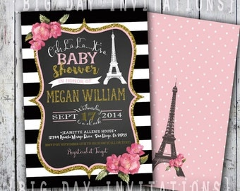 Paris Baby Shower Invitation, Eiffel Tower Invite, Paris Shower Invitation, Printable Invitation, Chalkboard, French Shower