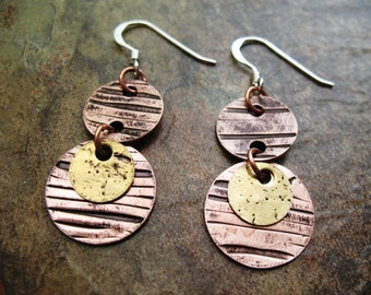 Textured Brass on Copper Disc Earrings