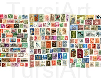 200 Postage Stamps from around the World Digital Download collage sheet scrapbook International Post Countries Country stamp mail vintage