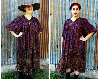 Boho Festival Midi Dress ~ Gypsy Flower Child Hippie Coachella Caftan Vintage 90s Grunge One Size 2-16 XS-XL