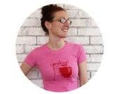 """Ladies kitchen Mixer tshirt """"Retro Mamma"""" Ladies Mixer Tee Shirt in pink and red or custom colors, Short sleeved cotton crewneck"""