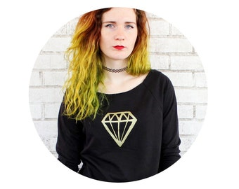 French Terry Geometric Gemstone Slouchy Sweatshirt, 3/4 length Sleeves Black Shirt Hand printed Ladies Clothing Off The Shoulder Diamond top