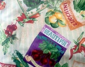Seed Packet fabric, Eat Your Veggies, Ro Gregg for Northcott fabric, OOP, rare, htf
